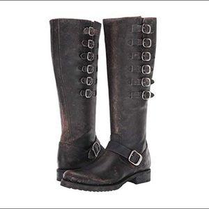 FRYE Veronica Belted Tall Knee Boot- Black Brush